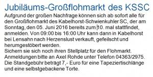 KSSC-Großflohmarkt am Sonntag, den 05.06.2016 A